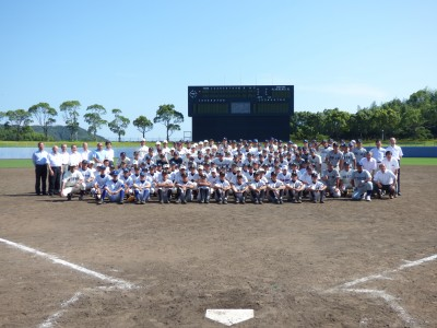 野球教室の集合写真